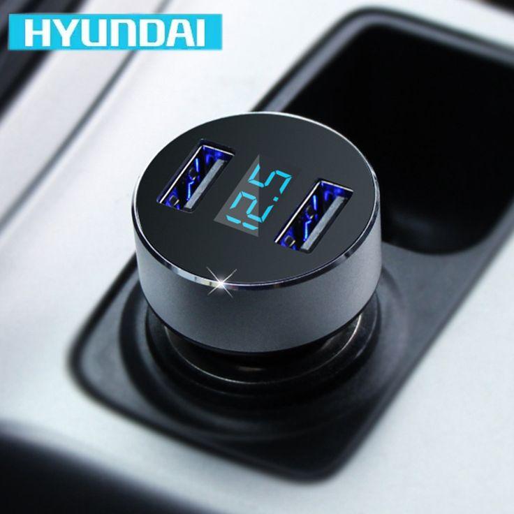 HYUNDAI Carga Rápida Cargador 5 V 3.1A Dual USB Adaptador de Teléfono Puerto de Cigarrillos Pantalla LED Encendedor Del Coche Voltaje carregador veicular