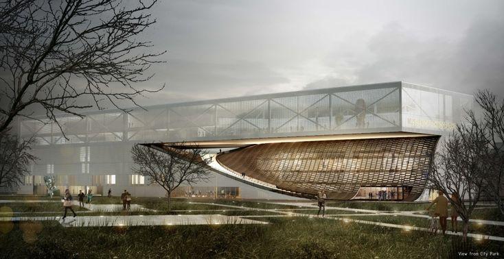 Les deux jeunes architectes Mohamed Bouzrara et Olfa Kammoun avec l'architecte Bobby Fogel Sous la direction de BF Architecture ont remporté le deuxième prix dans le concours international pour la construction d'un musée d'ethnographie de Budapest.