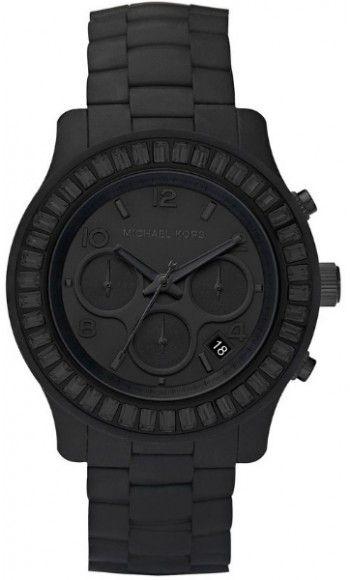 Michael Kors Polyurethane Chronograph Quartz Women's Watch, Polyurethane, Black Dial, MK5395