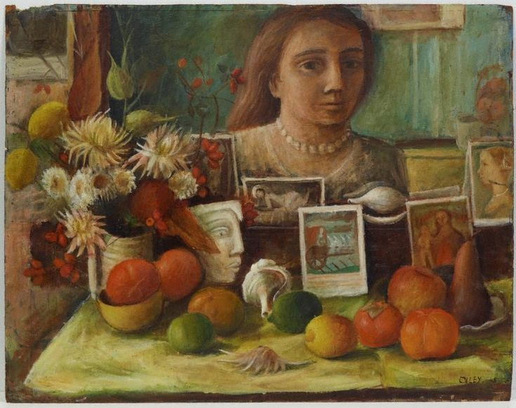 Portrait in the mirror (1948) is a self self portrait by Margaret Olley and can be used to look at how we portray our identity. Artist choices in depicting a person. Use this painting to open discussion with students about what do the objects in the painting convey about the subject?