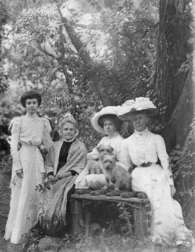 Botanical illustrator, naturalist and intrepid explorer, Ellis Rowan(standing) and her mother and sisters at Mt Macedon , Victoria c.1885