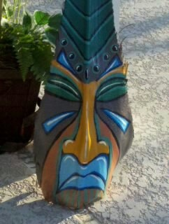 Painted Florida Palm Frond Tiki Mask Tropical by onecraftivist, $65.00