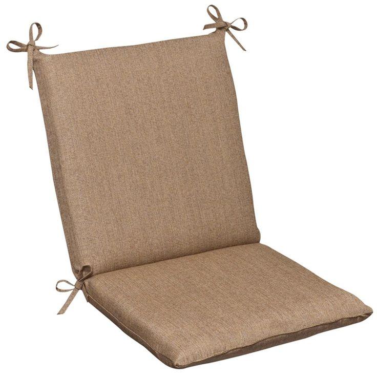 Outdoor Patio Furniture Mid Back Chair Cushion - Textured Tan Brown Sunbrella, Outdoor Cushion