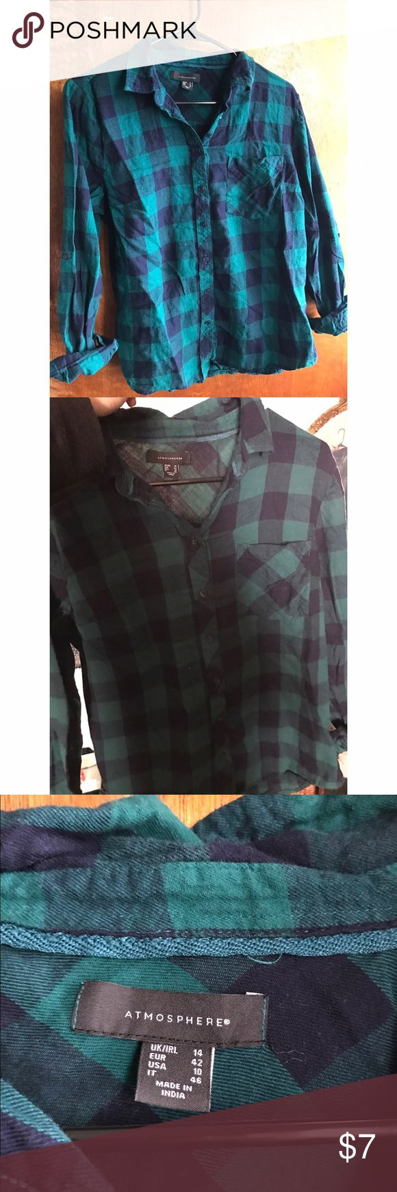 Green and blue plaid shirt Originally from Primark, a green and blue plaid shirt. Please see photo 2 for an accurate picture of the color of the shirt. It's a size 10 which is a M or L, very comfy and cute Tops Button Down Shirts