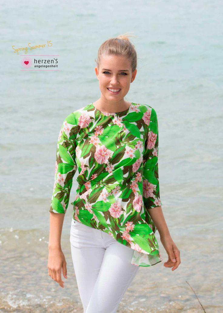 6151-6027 floral green blouse 100% #silk soft and lightfull #musthave #herzensangelegenheit