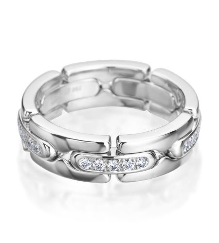 Furrer-Jacot - Les Magiques 18K White Gold 7mm Diamond Link Men's Band