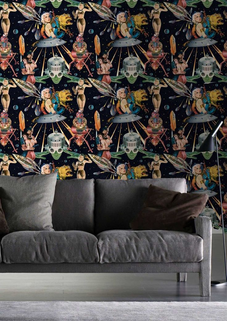 Add some retro style flamboyance to your home with the 'Other Worlds' wallpaper by designer MINDTHEGAP. Specially designed to add interest to your home this season