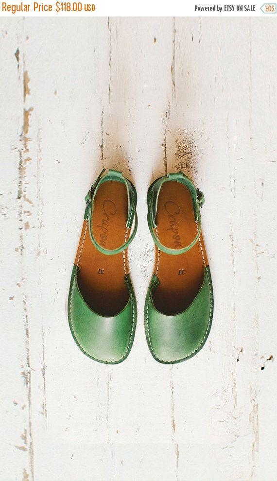 SALE 20% OFF: Green Sandals Women Sandals Handmade Women by Crupon