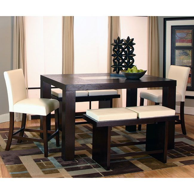 Kemper Rectangular Counter Height Dining Set W Ivory Chairs