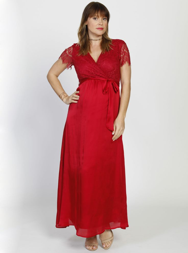 Formal Party Maternity Lace Dress in Red, $99.95, down to just $39.95, is a romantic and stunning maxi dress with fine feminine lace features.