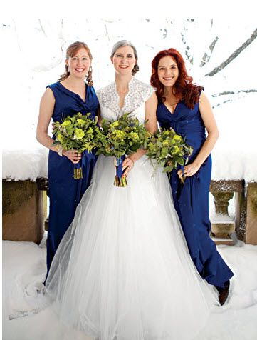 blue and green wedding theme  bridesmaids in long blue dresses