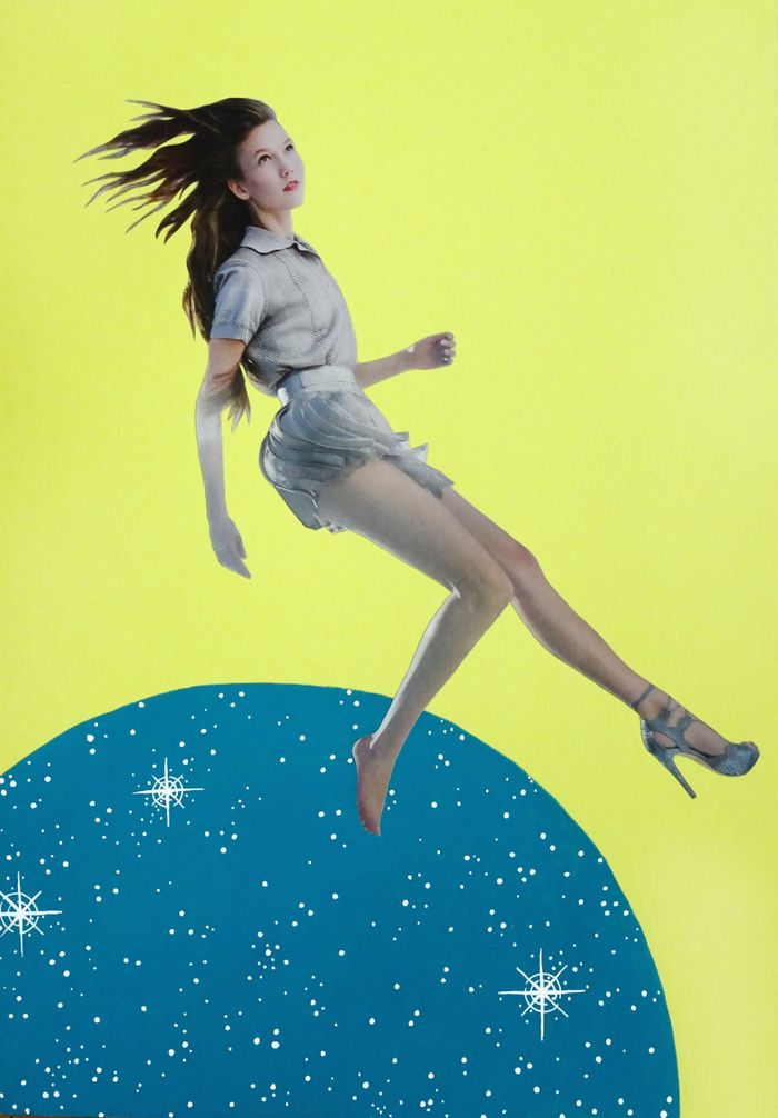 Beautiful woman wearing only one shoe, falling between universes, on yellow background.
