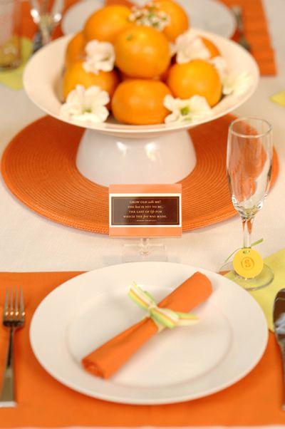 Orange centerpiece & place setting