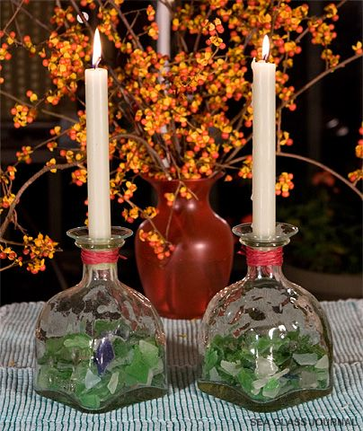 How-to make an easy and decorative sea glass candle holder for your centerpiece. http://www.seaglassjournal.com/crafts/candleholder/candleholder.htm