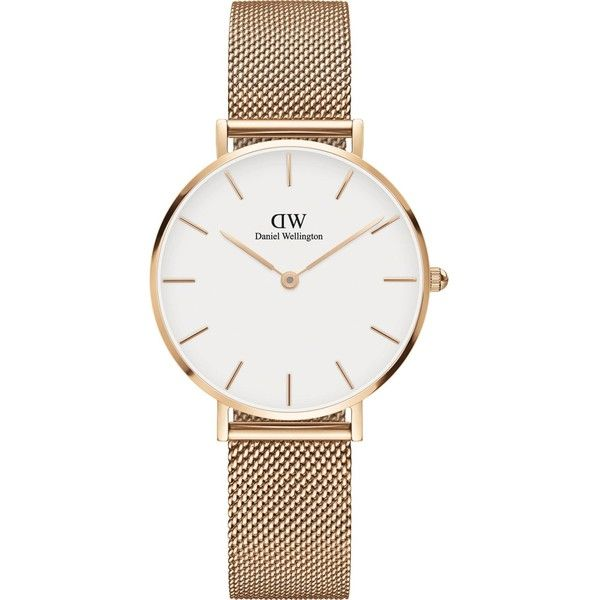 Daniel Wellington Classic Petite Melrose rose gold-plated watch ($150) ❤ liked on Polyvore featuring jewelry, watches, petite jewelry, rose gold plated jewelry, petite watches, white faced watches and daniel wellington