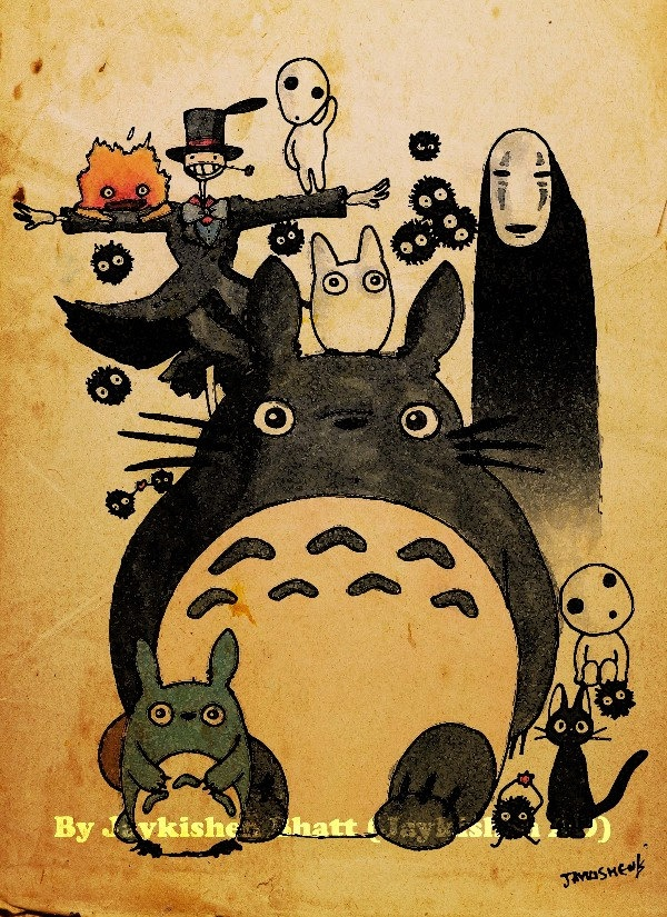 Retro Style Studio Ghibli Hayao Miyazaki Fan Poster Print.