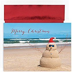 beachy christmas cards warmest wishes beach snowman greetings 18 cardsfoil lined envelopes - Beach Themed Christmas Cards
