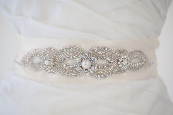 Bridal Gown Sash Wedding Dress Sash Rhinestone by PowderBlueBijoux, $99.00