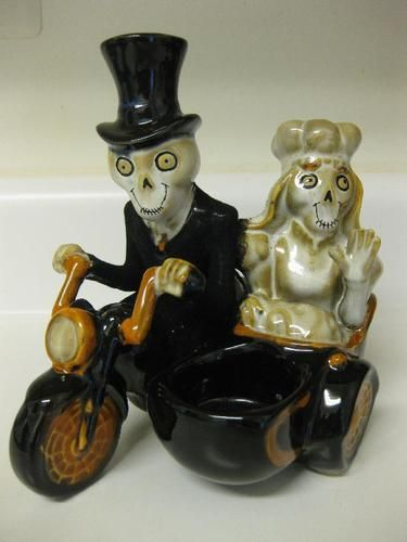 NEW 2010 Yankee Candle BONEY BUNCH Wedding Couple in Motorcycle Tealight Holder