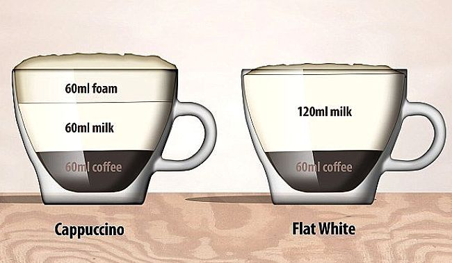 Components of a Cappuccino compared with those of a flat white coffee