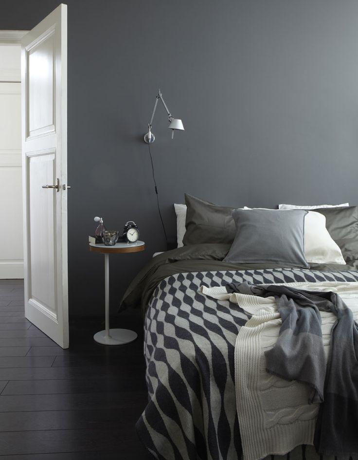 gray walls, white trim, dark stained floors