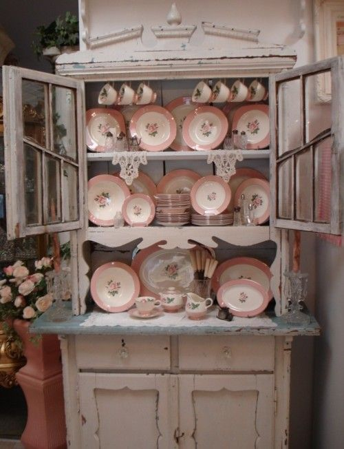 vintage cottage chic:  Great for my Old Hutch with my vintage glass and china collection.  Try opening the doors like this Pin?