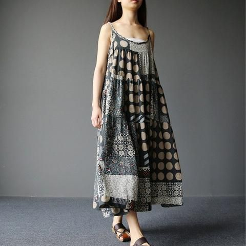 Women summer retro style loose sling dress