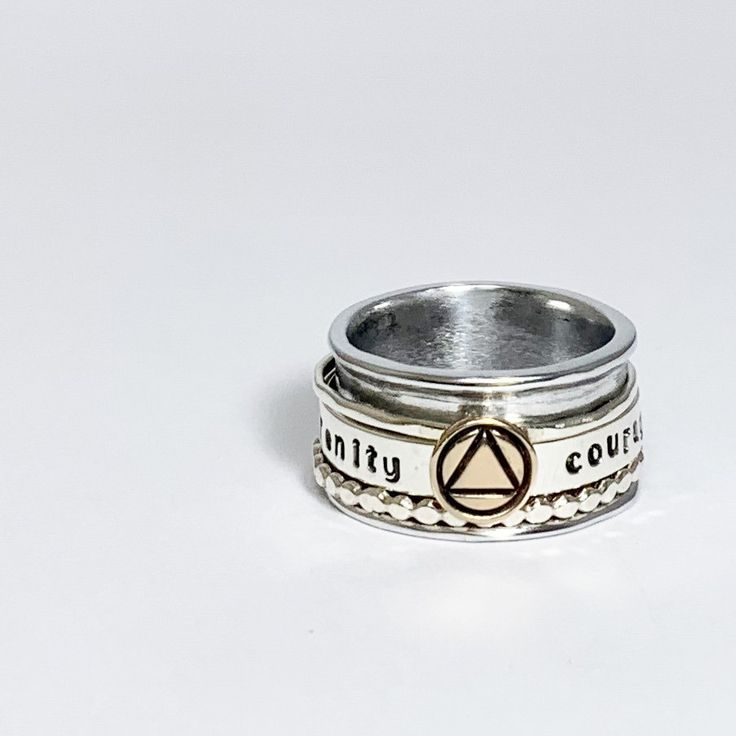 This Is My Serenity Wisdom Courage Spinner Ring Add Your Anniversary Date This Ring Is Great For Those Who F Recovery Jewelry Sobriety Jewelry Spinner Rings
