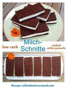 Milchschnitte low carb einfach selbst gemacht...  #lowcarb #abnehmen #LCHF #Food #Rezepte #backen