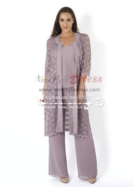 Elegant mother of the birde pant suit 3 piece outfit with for Wedding dress pant suits