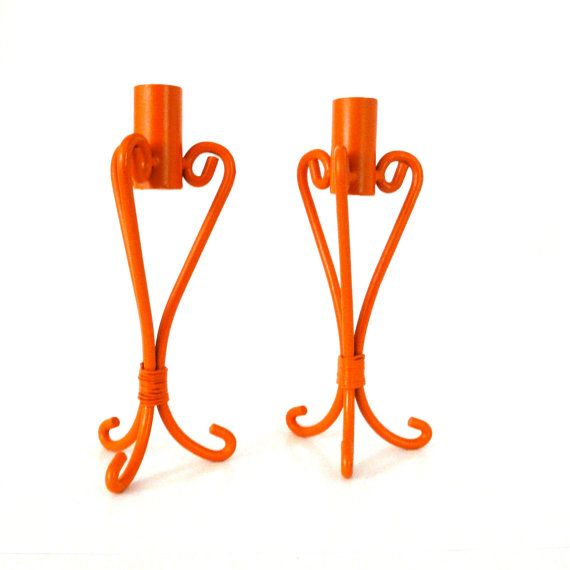candle holders, bright orange, candle holder set, upcycled metal, modern, home decor