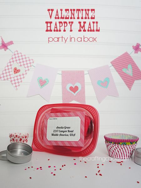 Package up a disposable container full of Valentine goodies and mail it to someone you love! Free banner printable included.