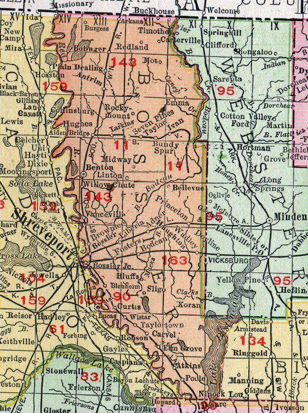 Bossier Parish Louisiana 1911 Map Rand Mcnally Bossier City Benton Brownlee Haughton Sligo Plain Deal Bossier City Louisiana Parish Map Plain Dealing