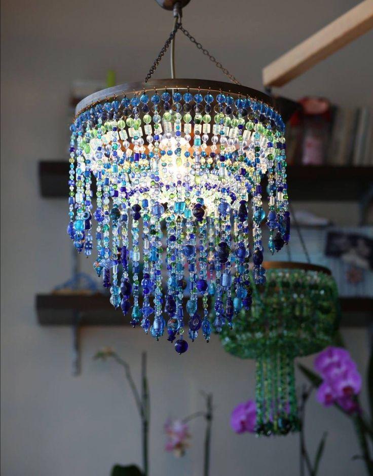bead chandelier, boncuk avize