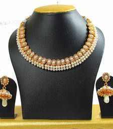 Buy Kundan Gold Plated Strand Necklace With Earings  For Women necklace-set online