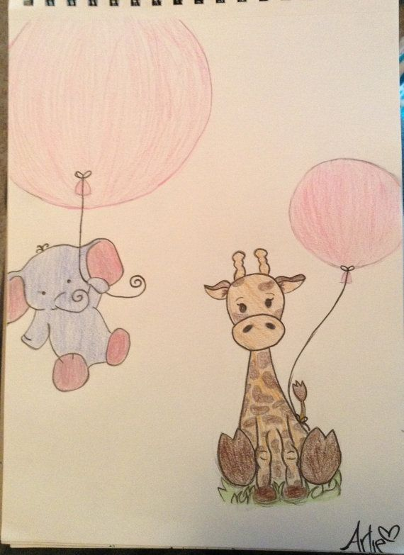Elephant and giraffe drawing by ArliesArtistry on Etsy