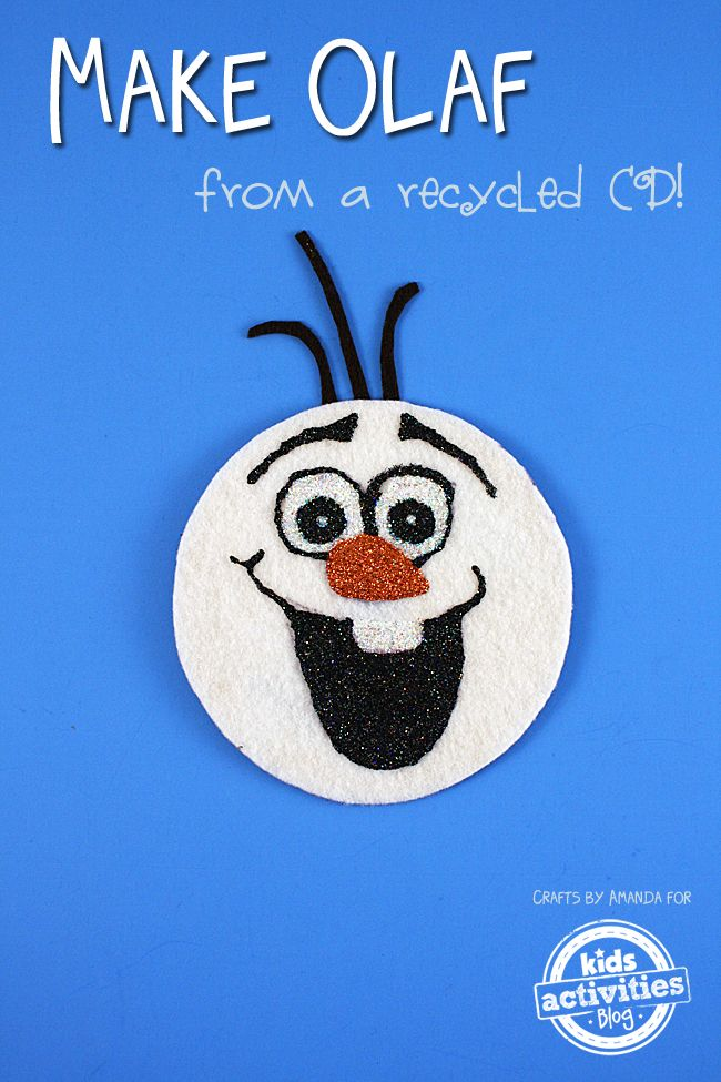 Make OLAF from Frozen out of a recycled CD!