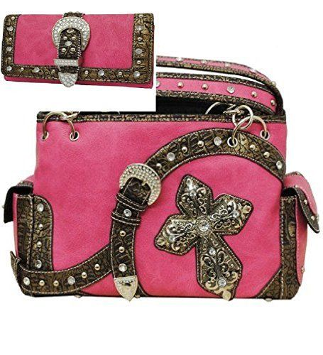 Pink Western Buckle & Cross Conceal and Carry Purse W Matching Wallet - Handbags, Bling & More!