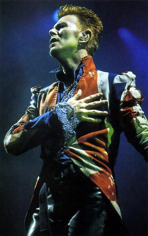 David Bowie in Alexander McQueen David Bowie in a jacket made for him by Alexander McQueen. Earthling tour, 1996-97