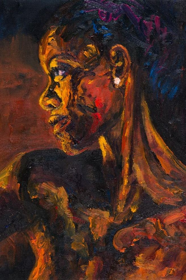 Oil painting. She is a black mysterious woman. Red, orange yellow tones. Stroke brushes flowing on the canvas. #africanartist #empowerwomen #blackartmatters #oilpainting #mixedmediartist #africanportrait #africanroots African Artists, Woman Painting, African Women, Orange Yellow, Mysterious, Brushes, Roots, Oil, Portrait