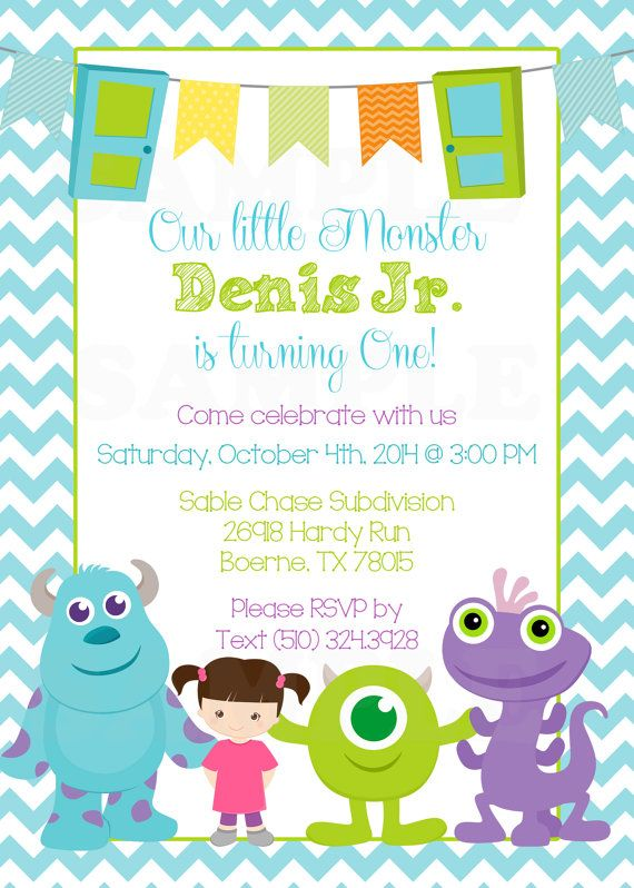 127 best adrian 1st bday images on pinterest birthdays monsters personalized monsters inc inspired girls birthday invitation tags printable file filmwisefo