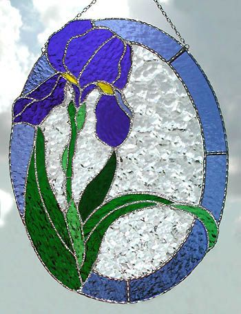 Stained Glass Blue Iris Suncatcher  Floral by StainedGlassDelight, $64.95