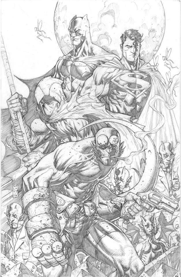 Hellboy, Moon Knight, Superman, and Batman by Stephen Platt