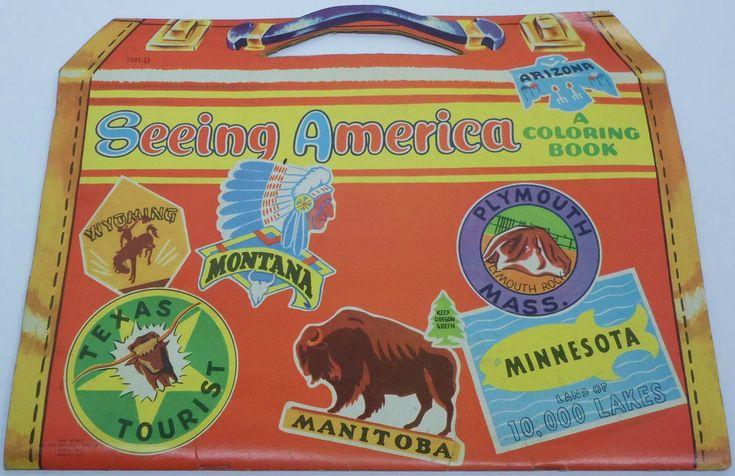 1955 Seeing America Coloring Book Saalfield Publishing