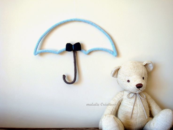 malalie Créations Créatrice d'accessoires tricotés et crochetés en laine: Nouveauté: la décoration parapluie tricotée en laine