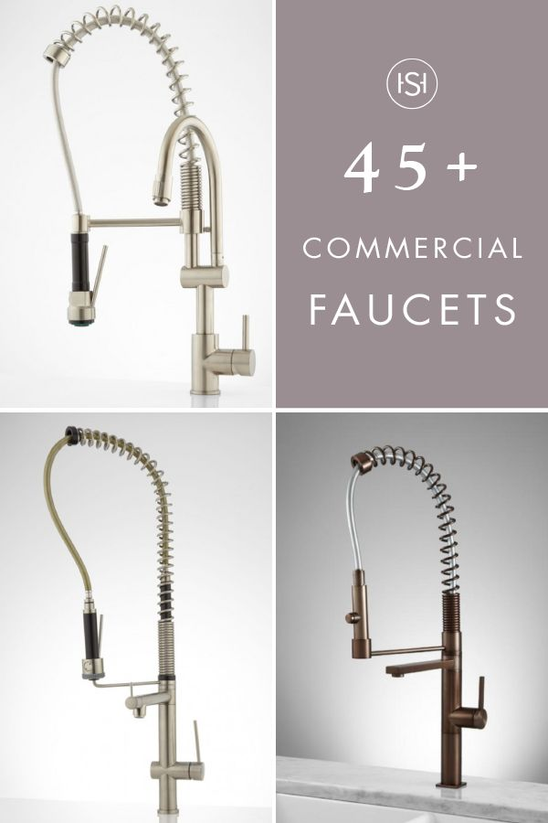 We've got just the ticket for adding a modern flair to your kitchen makeover. It's this collection of 45+ Commercial Faucets! With metal finishings in polished chrome, brushed nickel, and industrial black, the sleek design of this chic piece complements a variety of backsplashes and countertop choices.