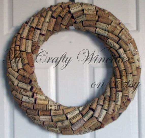 This is a 25 recycled wine cork wreath made with a very large variety of corks from across the US and from international vineyards. Wine corks