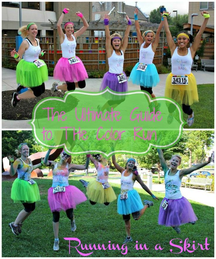 The Ultimate Guide to the Color Run. Everything you want or need to know about running the Color Run.  Tips and ideas on outfits, hair protection, what to expect at the color stations and clean up after the race. Includes before and after pictures plus information on where to get the tutus! / Running in a Skirt