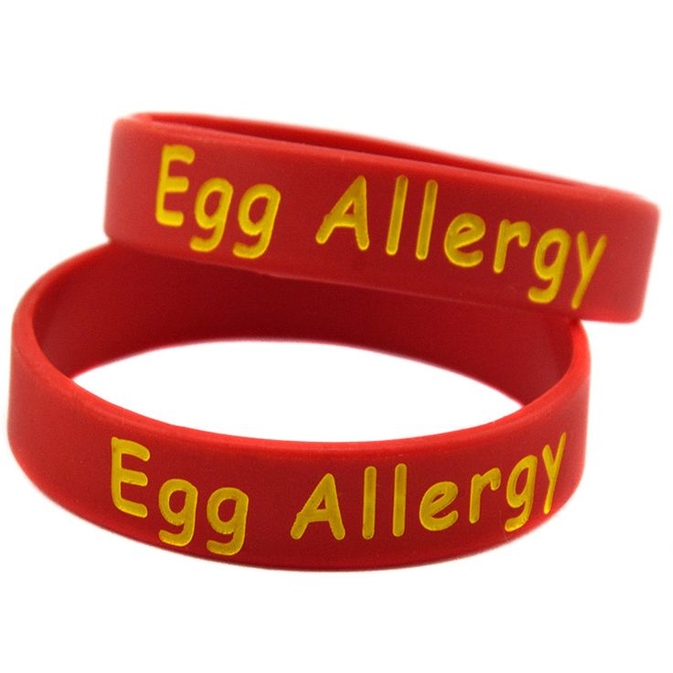 New Arrival 100PCS/Lot Alert Egg Allergy Wristband Silicone Bracelet Keep Your Child Safe