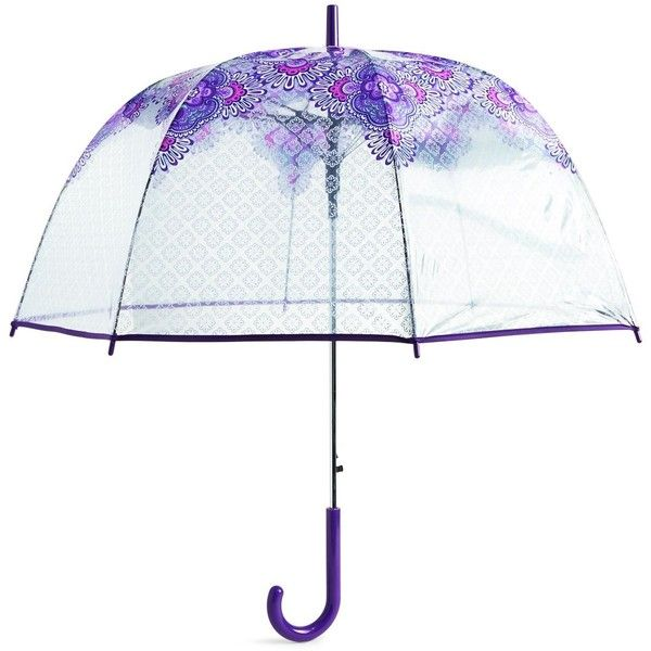 Vera Bradley Auto Open Bubble Umbrella in Lilac Tapestry (58 AUD) ❤ liked on Polyvore featuring accessories, umbrellas, lilac tapestry, vera bradley, multicolor umbrella, clear bubble umbrella, vera bradley umbrella and colorful umbrellas